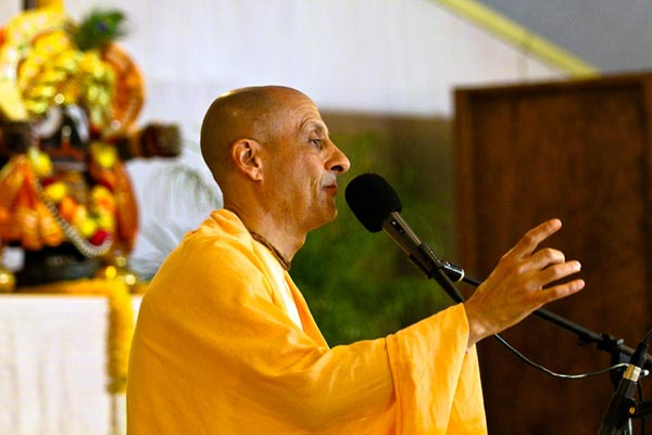 Radhanath Swami Giving Spiritual Discourse