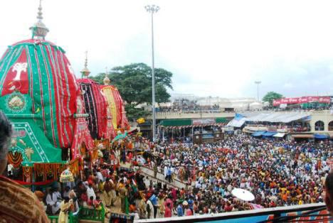 The annual rath yatra, cart festival, in Puri